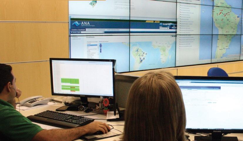 Sala de situação da Agência Nacional de Águas, em Brasília. Foto: Natália Sampaio/Banco de Imagens/ANA
