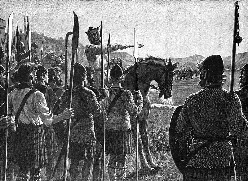 O rei escocês Robert The Bruce com suas tropas antes da batalha de Bannockburn, em 1603, em ilustração de 1909 de Edmund Blair Leighton