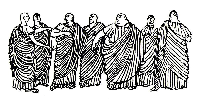 """""""Senadores romanos"""", ilustração satírica de 1991 de Alexander Yevgenievich Yakovlev (1887-1938). Imagem: Reprodução"""