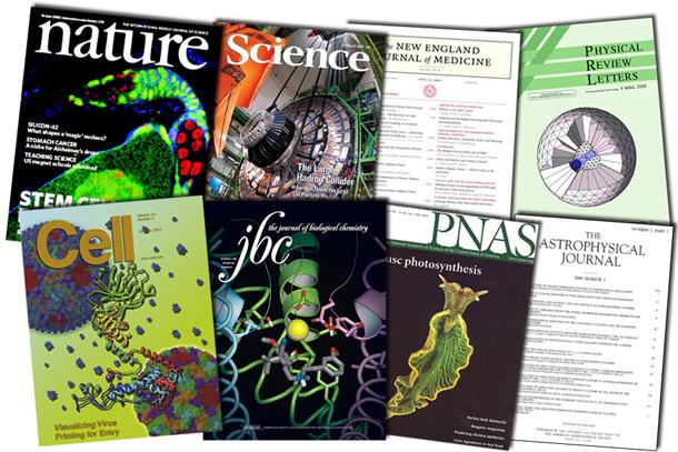 Capas de alguns dos periódicos classificados entre os de maior impacto na comunidade científica (Imagem: reprodução)