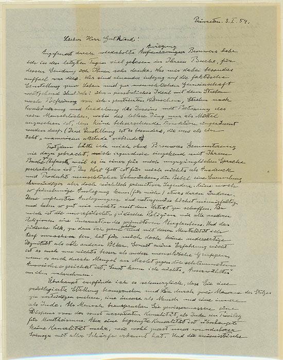 Carta de Einstein de 1954, ao pensador judeu Erik Gutkind, na uql ele nega a crença em Deus e na Bíblia. Imagem: Golan Weiser/Reuters