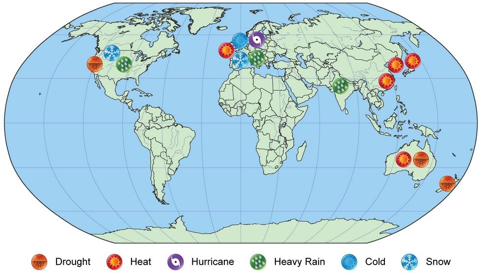 Mapa que destaca ocorrências intensas em 2013 de secas, ondas de calor, ciclones, chuvas, frio e nevascas.Imagem: Noaa?Divulgação
