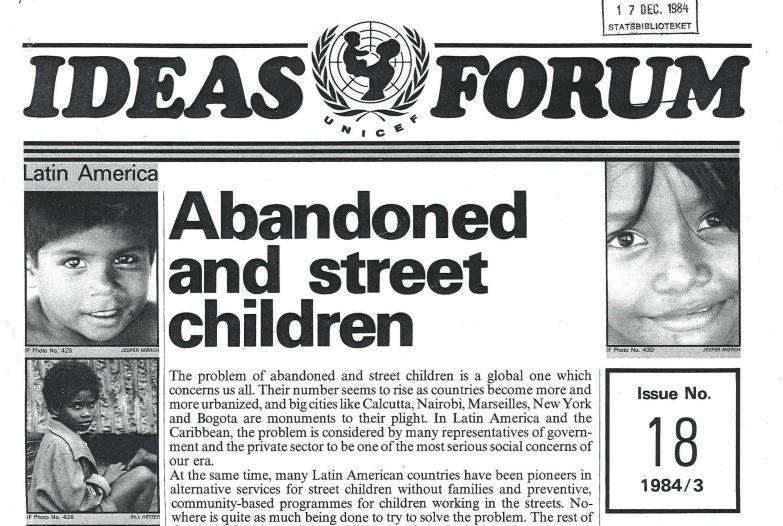 Boletim da Unicef, de 1984, que afirmava erroneamente que havia 30 milhões de crianças de rua no Brasil em 1983. Imagem: Reprodução.
