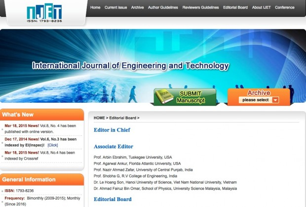 "Página do comitê editorial do periódico ""Ijet"" (""International Journal of Engineering and Technology""), registrado em Singapura e editado pelo publisher chinês IACSIT (International Academy of Computer Science and Technology Information). Imagem: Reprodução."