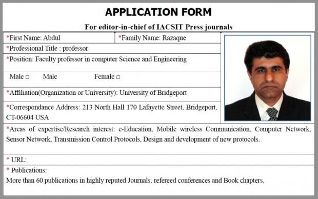 Formulário preenchido pelo engenheiro Abdul Razaque com a falsa qualificação dele como professor da Universidade de Bridgeport, nos Estados Unidos. Imagem: Reprodução.