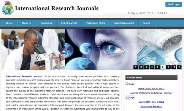 Homepage of the Nigerian predatory publisher International Research Journals. Image: Reproduction.