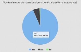 """Resultados: """"não"""" (93,3%) e """"sim"""" (6,1%). 0,6% não responderam. Imagem: Centro de Gestão e Estudo Estratégicos (CGEE)/Divulgação"""