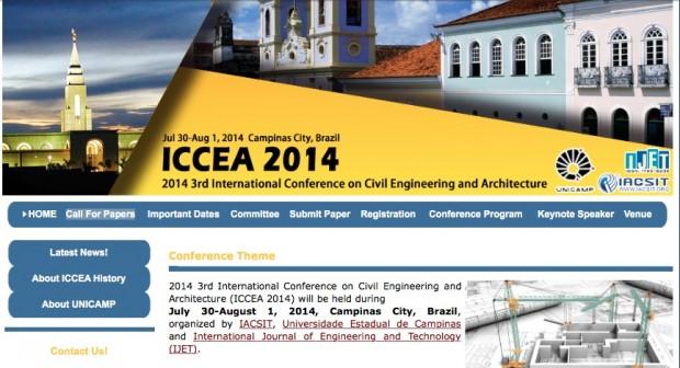 Página de abertura da 3ª Conferência Internacional de Engenharia Civil e Arquitetura, realizada em 2014 em Campinas. Imagem: IACSIT/Divulgação