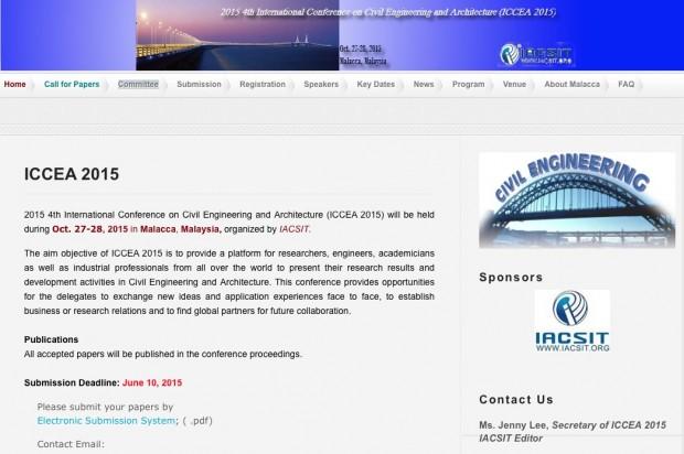 Página de abertura do site da ICCEA 2015 (Conferência  Internacional de Engenharia Civil e Arquitetura), previsto para 27 e 28 de outubro deste ano em Malacca, na Malásia. Imagem: Reprodução.