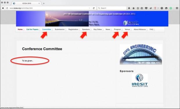 Páginas do comitê científico, da programação, dos palestrantes e local do evento não fornecem informações sobre evento que deveria ter acontecido em 27 e 28 de outubro na Malásia. Imagem: reprodução.