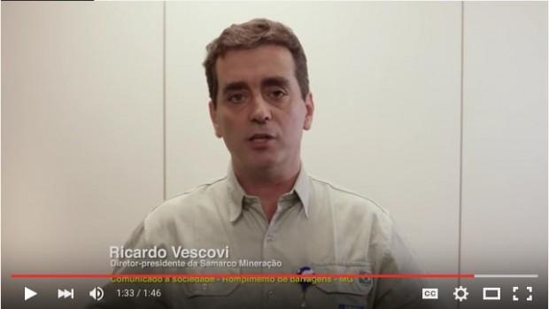 """Ricardo Vescovi de Aragão, diretor-presidente da Samarco Mineração chama de """"acidente"""" o desastre provocado pelo rompimento de duas barragens de rejeitos de sua empresa. Imagem: YouTube/Reprodução"""
