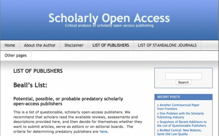 "Lista de publishers predatórios do blog ""Scholarly Open Access"", mantida desde 2011 pelo biblioteconomista Jeffrey Beall, da Universidade do Colorado em Denver, nos EUA. Imagem: reprodução"