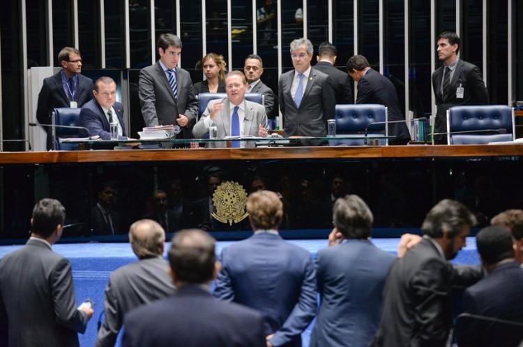 Sessão do Senado Federal, presidida pelo senador Renan Calheiros (PMDB-AL).  Imagem: Jefferson Rudy/Agência Senado